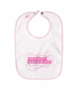 The Good Life: Profits and Pacifiers White Cotton Bib